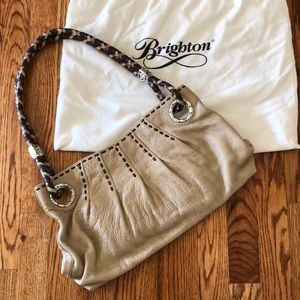 Brighton handbag with braided handle silver detail